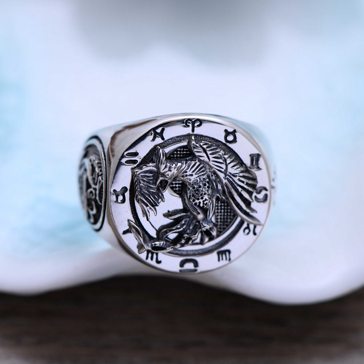 100% Genuine 925 Sterling Silver Retro Men Male Ring Thai Silver Fine Jewelry Gift Suzaku Finger Ring CH057626 100% genuine 925 sterling silver retro men male ring thai silver fine jewelry gift snake cross heavy finger ring ch057436