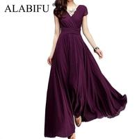 d8df4ce928d ALABIFU Long Summer Dress Women 2019 Casual Sexy Solid Maxi Party Dress  Chiffon Beach Dress Plus