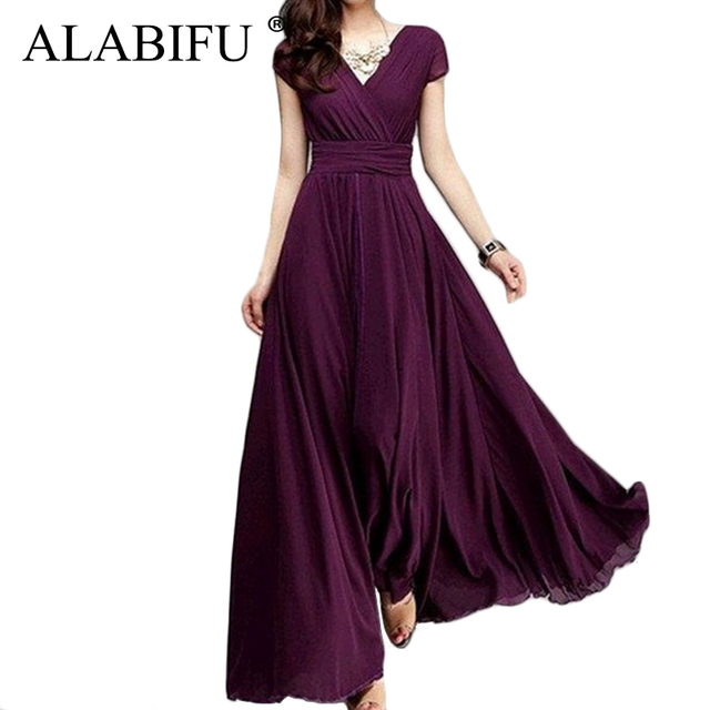 ALABIFU Long Summer Dress Women 2019 Casual Sexy Solid Maxi Party Dress Chiffon Beach Dress Plus Size 5XL White vestido ukraine