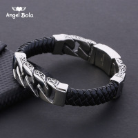 2018 New Gift for Men Buddha Stainless Steel Bracelets & Bangles Men Leather Bracelets Men Jewelry With Logo Free Shipping