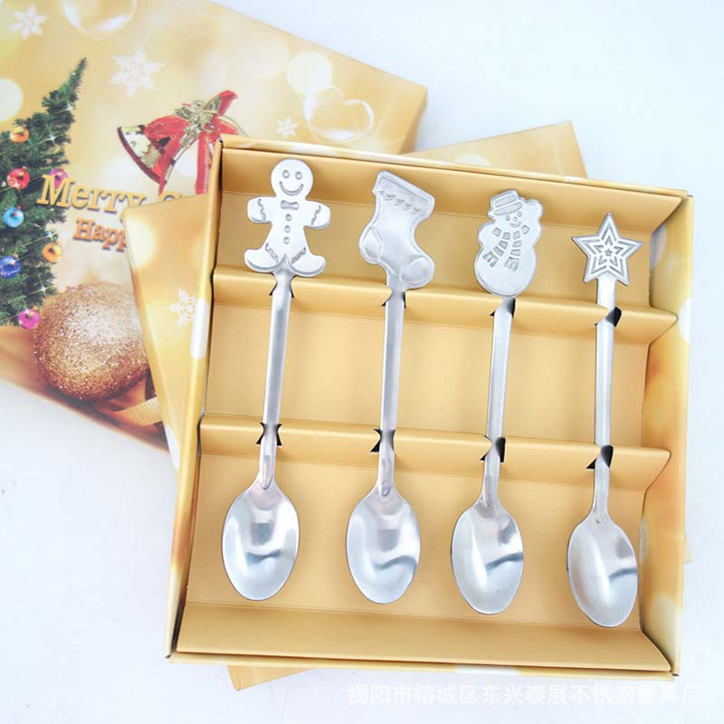 4pcs Baby Spoons Tableware Stainless Steel Children Flatware Feeding Cutlery Spoon Kids Utensils Dinnerware Christmas Gift