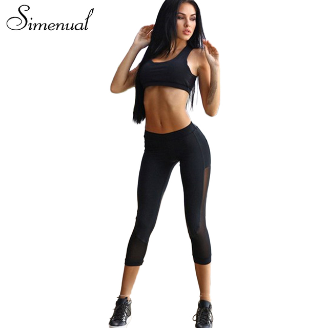 Simenual Summer new tracksuits mesh splice hollow out fitness leggings bras 2017 athleisure sportsuits black sexy active suits