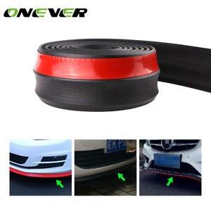2.5M/8.2ft Universal Car Bumper Protectoer Car Front Lip Spoilers 60mm Width Rubber Exterior Bumper Lip Strip Car Side Skirts
