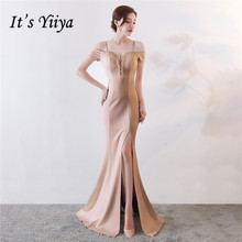 It's Yiiya Evening dresses Spaghetti Strap beading Backless Party gowns Sexy Floor-length zipper back Trumpet Prom dress C139 цена и фото