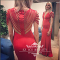 New Style Tassels Mermaid Evening Dess With Capped Sleeves Sheer Back Red Long Illusion O Neck Women Party Prom Gown 2017 Cheap