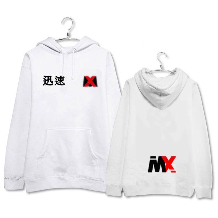 MONSTA X album concert surrounding solid color letters with men and women Hooded sweatshirt with hoodie