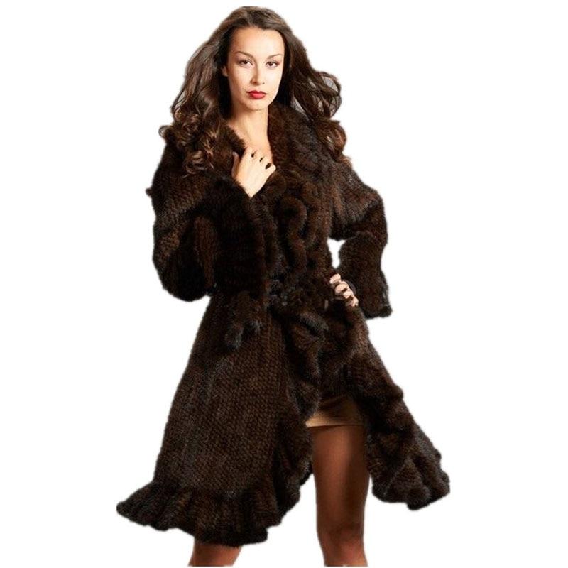 Mulheres Genuína pele de Vison de luxo plissado design de Malha Casaco de Pele De Vison Casacos de peles Naturais Outerwear Casaco Longo feminino