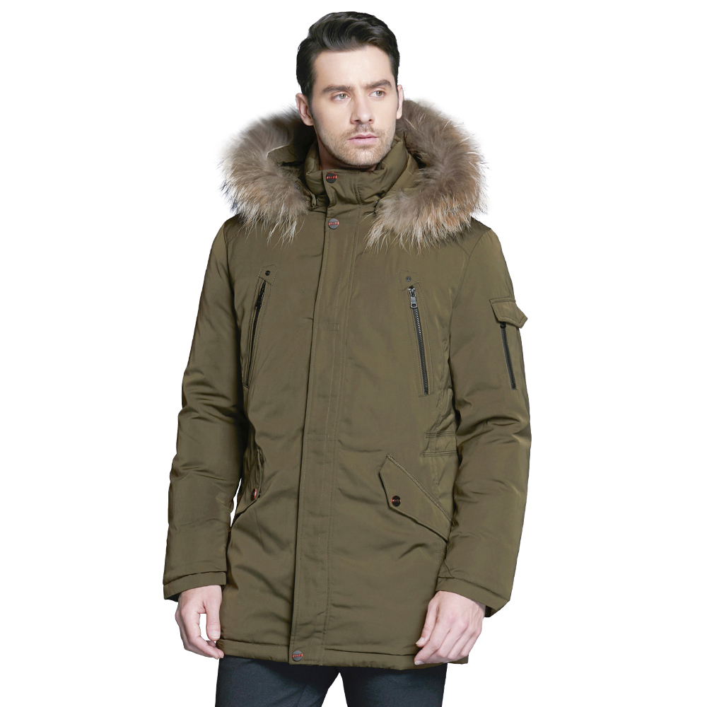 ICEbear 2018 Fashionable men's clothing with luxurious removable fur collar and comfortable cuffs winter jacket for men 17MD903D