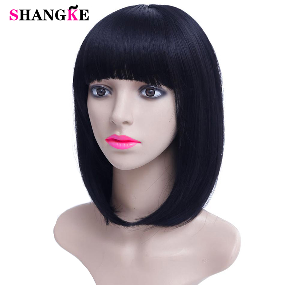 14'' Bob Wig Short Synthetic Wigs For Women Heat Resistant Straight Hair For Women Hairpieces SHANGKE