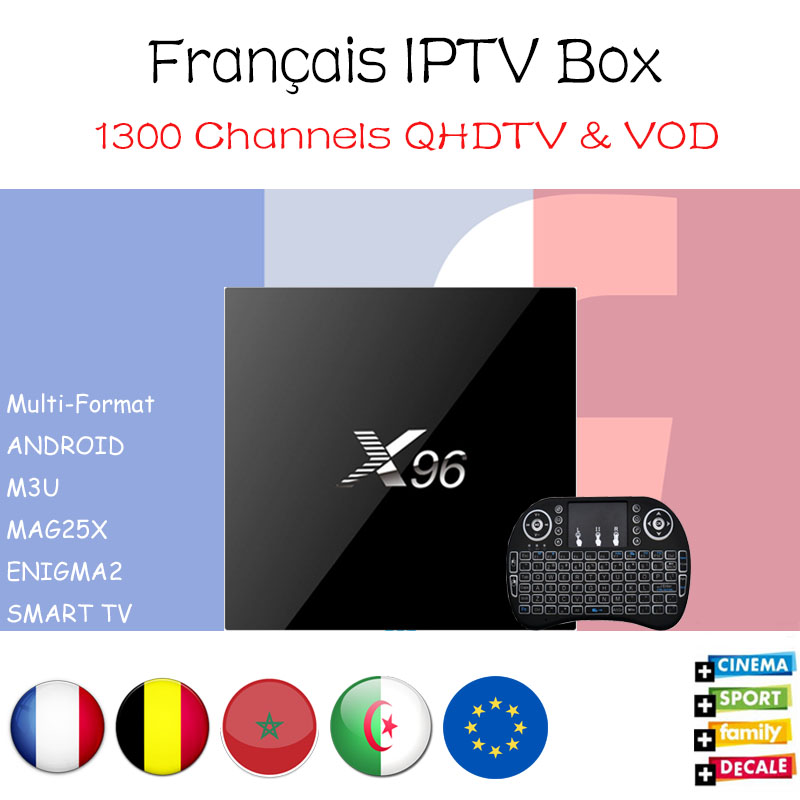 New X96 Android 6.0 Amlogic S905X Smart TV Box 1GB 2GB/8GB with 1200+ Channels French Belgium Benelux IPTV Arabic Set Top Box hot x96 tv box 2gb 16gb s905x quad core 2 4ghz wifi hdmi smart set top box with iudtv iptv abonnement french arabic iptv top box