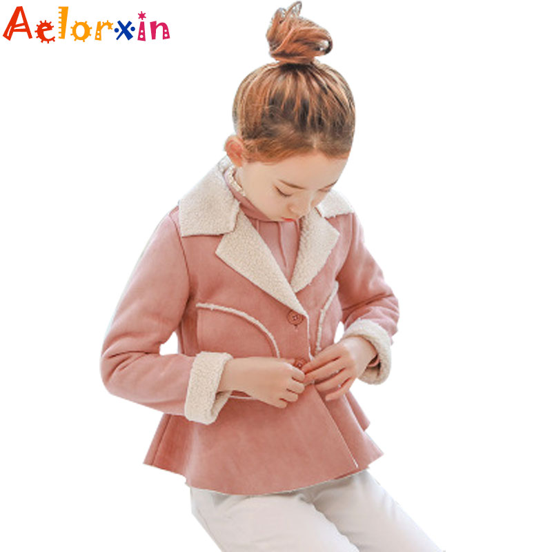 90b51c605 Baby Winter Jackets for School Girls Thick Suede Outerwear Pink ...
