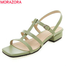 MORAZORA 2019 plus size 50 women sandals simple solid colors summer shoes square low heels dress party wedding shoes woman(China)