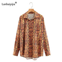 Lanbaiyijia Newest Fashion Snake Pattern Turn down Collar Single breasted Women Blouse Long Sleeve Autumn Shirt Women Tops