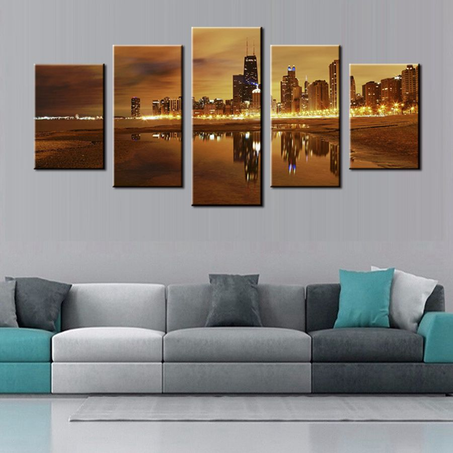 Home Decor Stores San Diego: Night View Photo 5 Piece Wall Art Painting San Diego