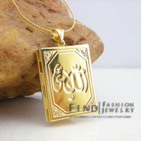 Islam allah jewelry muhammad,gold Filled Muslim Islamic quran books pendant women girl & men unisex ,Ramadan Gifts  2pcs/lot