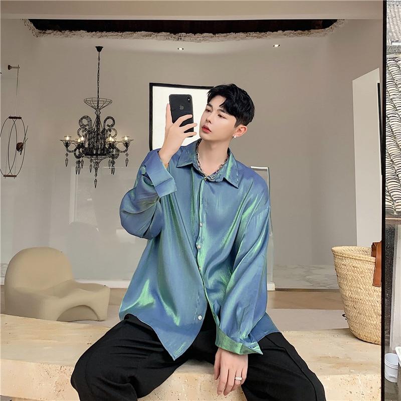 Men Shining Long Sleeve Casual Shirts Male Women Streetwear Hip Hop Shirt Vintage Fashion Stage Show Clothes