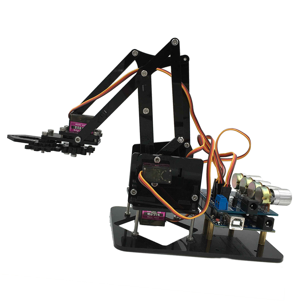 DIY Assembled Acrylic Robot 4-Dof Robot Mechanical Arm for Arduino Learning Scientific Kits arduino plotclock robot kit drawing program acrylic arm