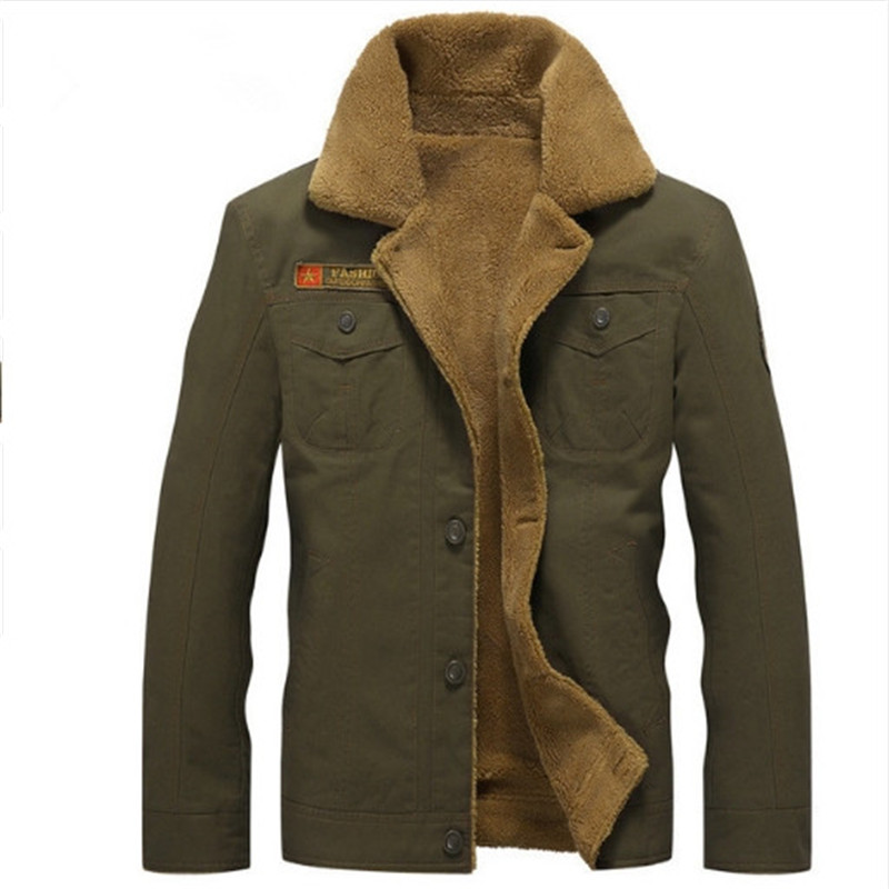 Fashion Jacket Pilot Air-Force Fleece Army Warm Male Tactical Winter Mens Fur-Collar