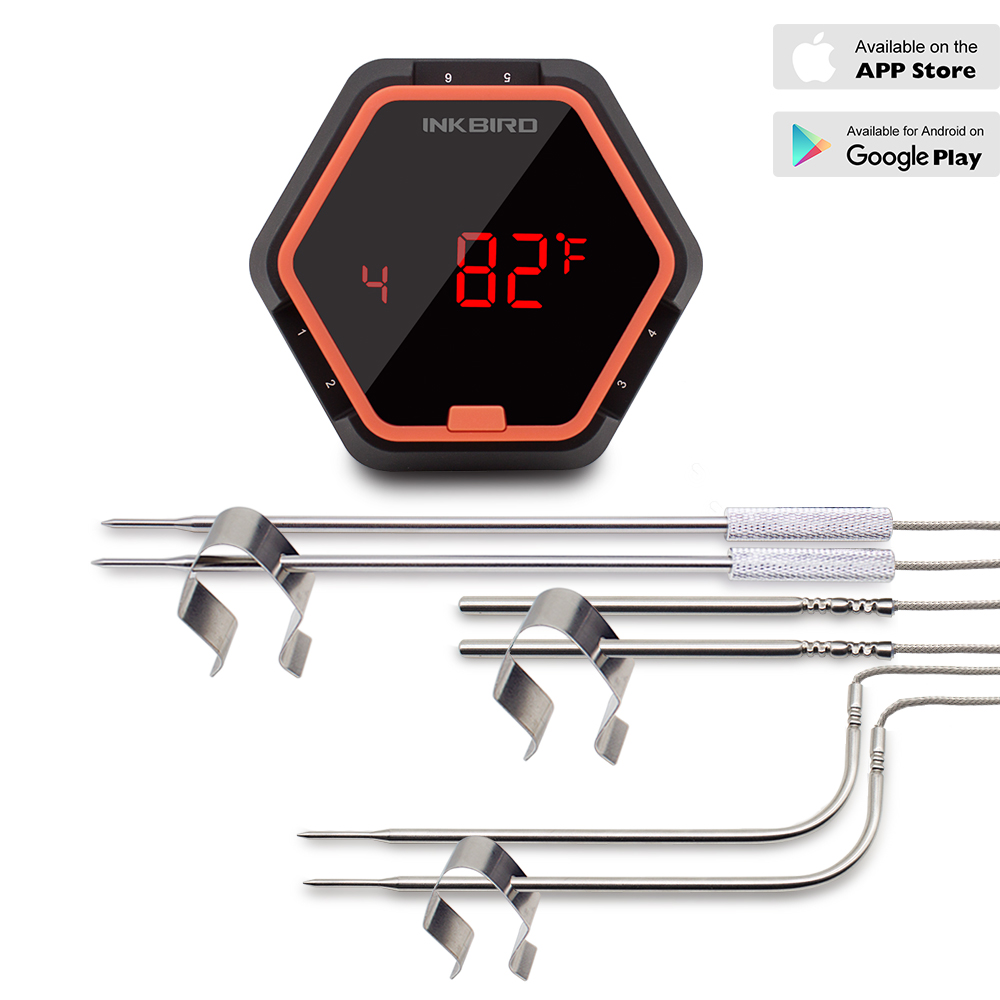 Inkbird IBT-6X BBQ Thermometer Food Cooking Bluetooth Wireless Meat With Six Probes(Food Probes and Oven Probe) Free APP 2 pcs pair rear bumper lights without bulbs tail fog lamps for toyota land cruiser prado fj120 2002 2009