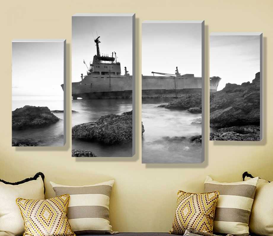 Modern Scenery Beautiful High Definition Printing 4 Panel Painting The Living Room On Wall Hangs A Picture H01 In Calligraphy From Home