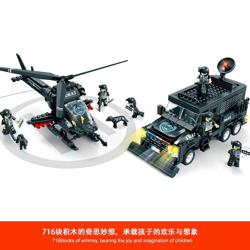 716 piezas bloques educativos de construcción para niños juguete Compatible Legoingly city SWAT Apache Tigers riot squad DIY figuras de ladrillo-in Bloques from Juguetes y pasatiempos    2