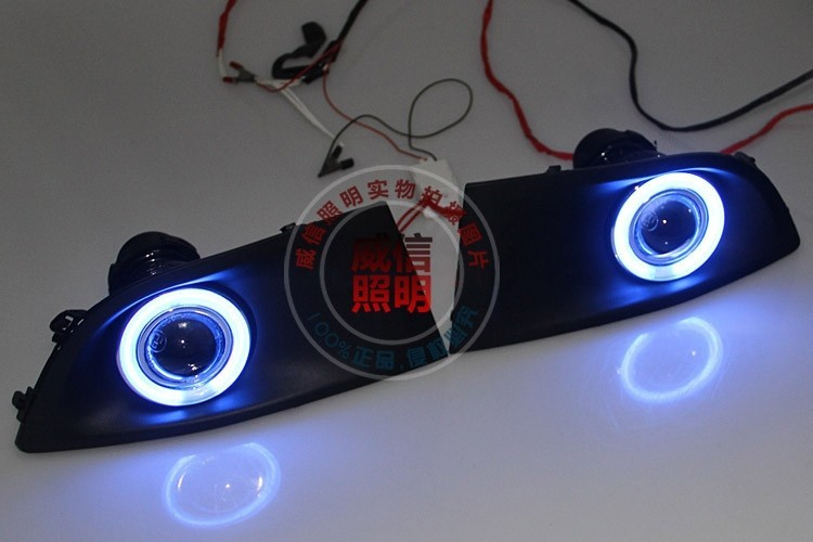цены eOsuns CCFL angel eye led daytime running light DRL + Fog Light + Projector Lens for Nissan Sylphy sentra bluebird 2007-11