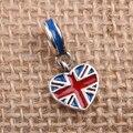 Encantos Do Coração Da Bandeira Da inglaterra Original 100% Authentic 925 Sterling Silver Beads Tópico fit para Charms Pandora pulseiras & Colares