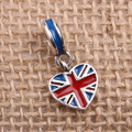 England Heart Flag Charms Original 100% Authentic 925 Sterling Silver Thread Beads fit for Pandora Charms bracelets & Necklaces