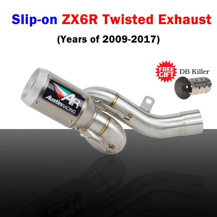 ZX6R ZX636 2009-2017 sans lacet tuyau de lien moyen d'échappement de moto avec Austin racing style escape pour Kawasaki zx6r 636 2009-2017