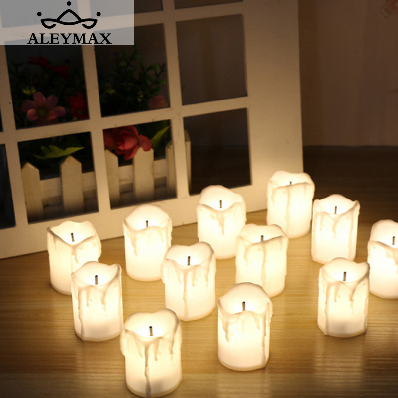 12pcs/box Warm White Flameless Led Electric Battery Powered Tealight Candles Holiday/wedding Decoration Big Votive Candles Home & Garden Candles & Holders