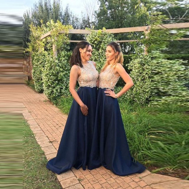 Azul marino oscuro dama falda por encargo cremallera cintura una línea piso  longitud Maxi falda elegante 3e2970e8b86b