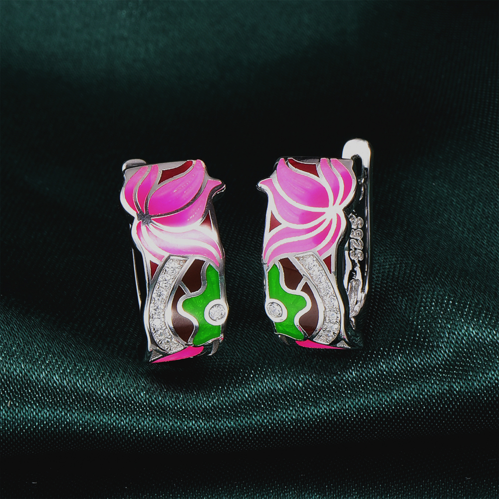 RainMarch Lotus Flower Enamel Stud Earrings Silver For Women Wedding 925 Sterling Silver Earring Bohemian enamel Jewelry