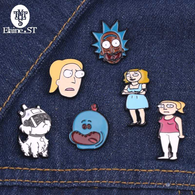 Rick And Morty Enamel Pin Rick And Moti Pins Buckle Cucumber Cartoon Brooch Badge Vintage Brooches Clothes Accessories Hijab Pin