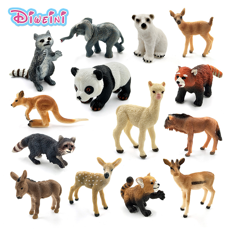 Simulation Forest Wild Panda Elephant Raccoon Kangaroo Alpaca Deer Bear Donkey Wildebeest Plastic Animals Mini Figure Model Toys