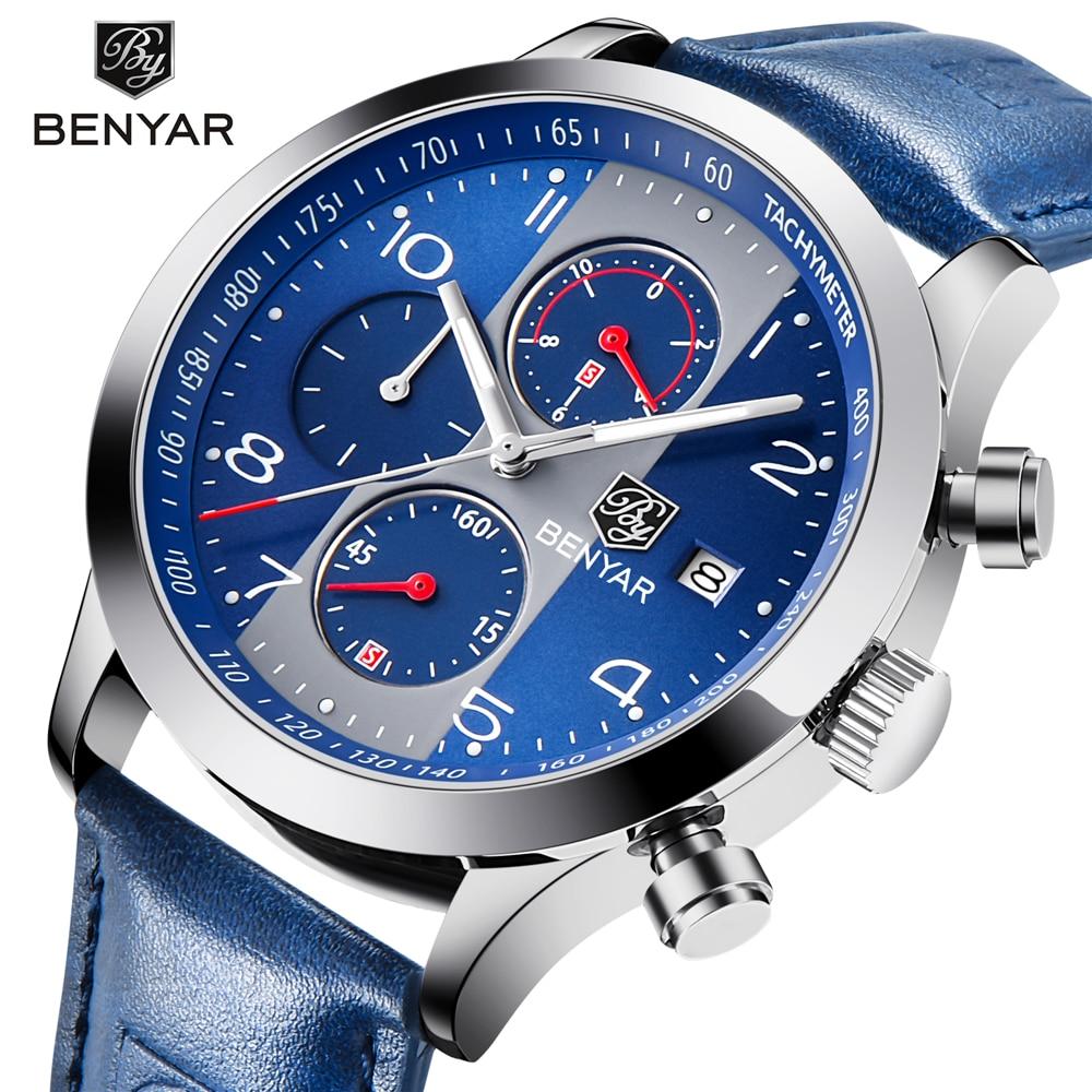 BENYAR Top Luxury Brand Men Sport Watches Quartz Chronograph Business Waterproof Watches Male Watch Clock Men Relogio Masculino цена