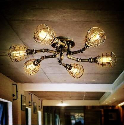 Vereinigt Stil Loft Industrie Retro Vintage Deckenleuchten Für Zu Hause Beleuchtung Edison Wasser Rohr FÜhrte Deckenleuchte Leuchte Plafonnier Direktverkaufspreis Deckenleuchten & Lüfter