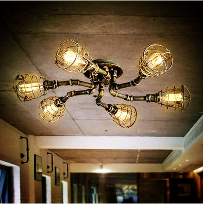 Lights & Lighting Style Loft Industrial Retro Vintage Ceiling Light For Home Lighting Led Edison Water Pipe Ceiling Lamp Luminaire Plafonnier Ceiling Lights