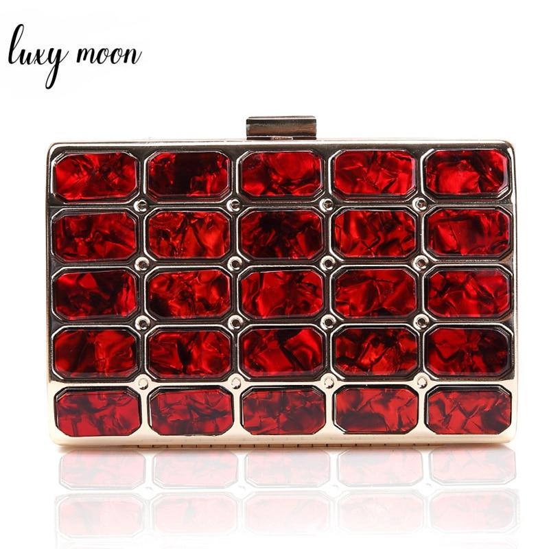 High Quality Acrylic Evening Bags For Women Plaid Pattern Female Clutch Bag Party Purse Wedding Banquet Mini Handbag ZD1153