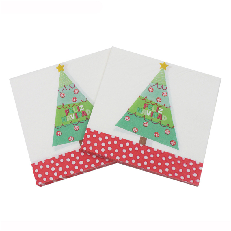 Us 14 9 30 Off 100pcs Green Christmas Tree Printed Tissue Paper Napkins Restaurant Festive Party Supplies New Year Xmas Decoration Paper Towel In