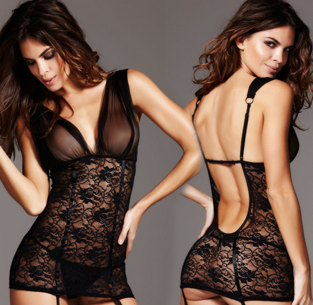 Adult font b Sex b font Clothes Sexy Fishnet Dress Black Lace Lingerie Night Dress For