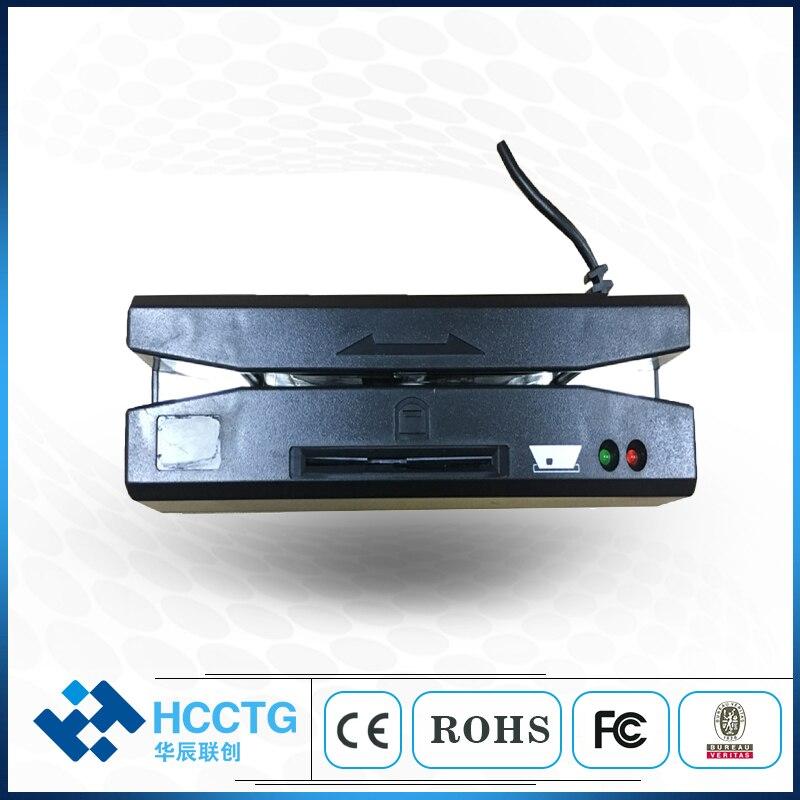Portable tout en un usb 2.0 lecteur de carte pilote/2mm 3 pistes lecteur de tête magnétique/ic lecteur de puce et écrivain HCC110