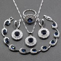 Oustanding 4PCS Women Jewelry Sets 925 Sterling Silver Blue Cubic Zirconia Earring Pendant Necklace Bracelet Ring Free Gift S64