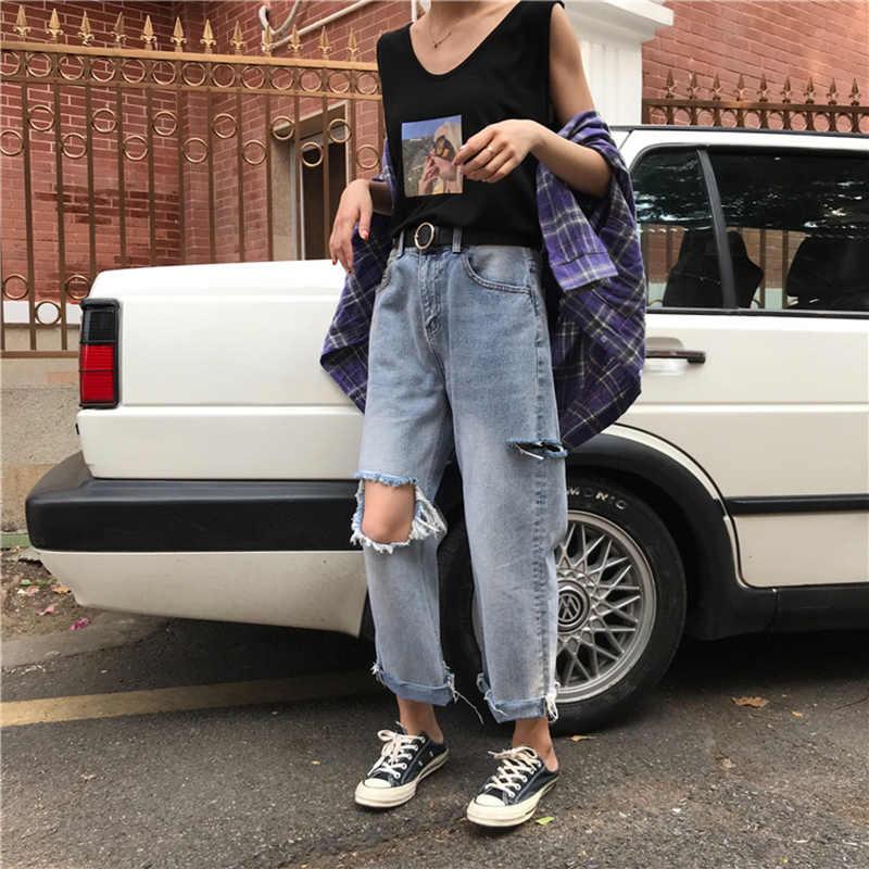 Плюс размеры свободные порванные джинсы Лето керлинг высокая талия девять очков прямая трубка широкие брюки для женщин пикантные повседневное