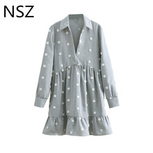 NSZ Women Cotton Linen Dress Embroidery Polka Dot Pleated Dress V Neck Ruffles Hem Long Sleeve Elegant Short Dress Vestidos elegant style v neck side pleated design long sleeve cotton blend dress for women
