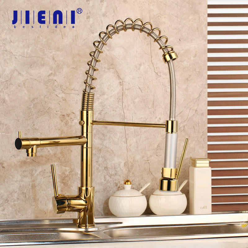 JIENI Gold Polish Kitchen Faucet Golden Vessel Sink Swivel Faucet Washbasin Mixer Taps with Pull Down