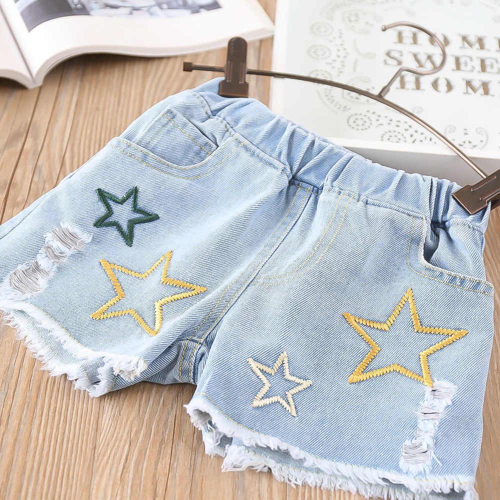 Ropa de cumpleaños de verano para niñas. Traje de algodón a rayas de manga corta + pantalones cortos de mezclilla 2 uds. Trajes para niñas