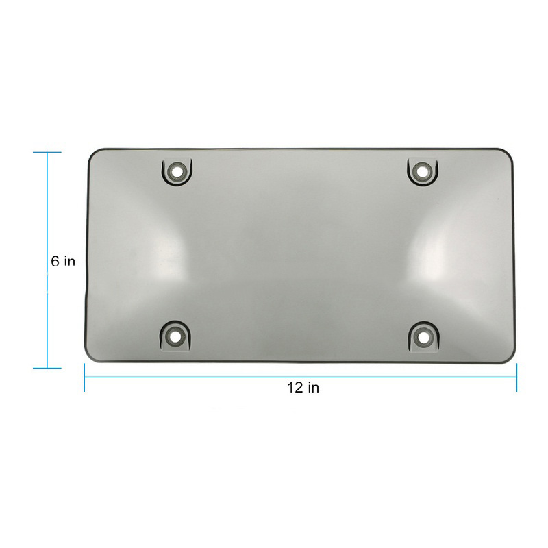 """2X License Plate Cover Tag Frame BUG Shield Protector /& Screw Bolt Cap 6/"""" x"""