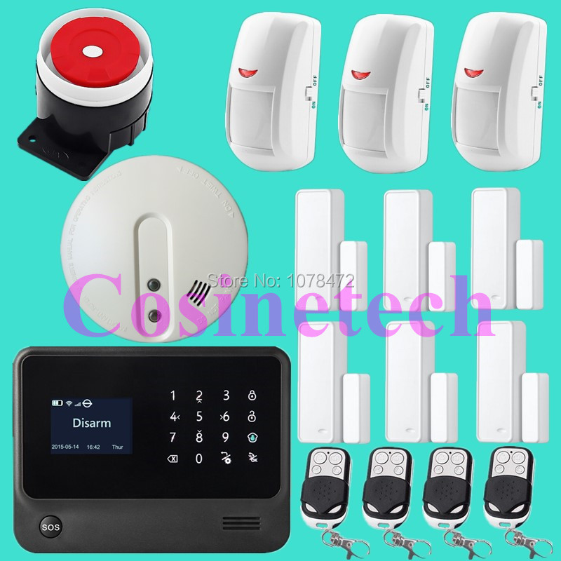 IOS&Android APP controlled Wireless GSM WIFI Alarm System Support GPRS,fire alarm system with extenal Siren horn,door magnet smart android ios app controlled home alarm system touch keypad wifi gsm alarm system with pet immune motion detector siren horn
