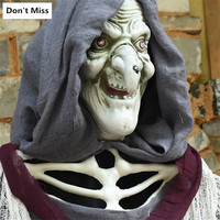 210cm Large Hanging Witch Haunted House Horror Hanging Glowing Toys Halloween Party Scare Decoration Horrifying Monster Witch