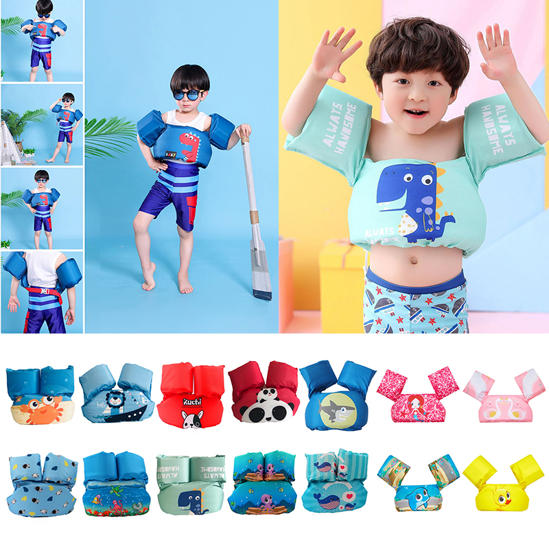Cute Kids Arm Ring Swimming Vest Foam Swim Circle Safety Vest Arm Sleeves Swimming Life Jacket Float Kid Children 2-7 Y Dropship